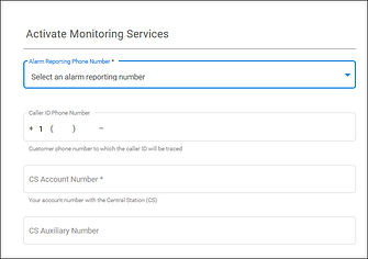 Activating monitoring services  - alarm reporting