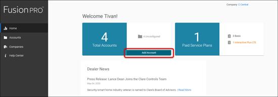 add account - dashboard
