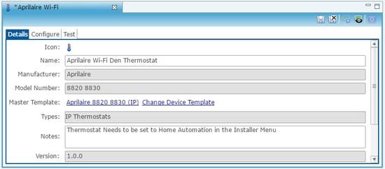 Details tab - aprilaire Wi-Fi IP