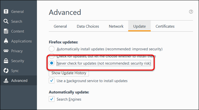 select never update